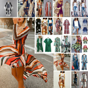 c6c5318e35 Women Summer Boho Beach Cover Up Lace Floral Cardigan Kimono Chiffon ...