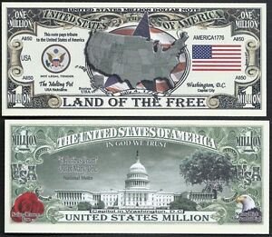 Lot of 500 Bills USA AMERICA MILLION DOLLAR BILL w MAP SEAL FLAG