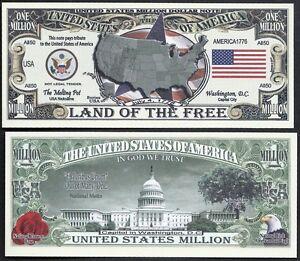 Lot of 500 Bills USA AMERICA MILLION DOLLAR BILL w MAP SEAL FLAG