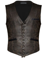 Punk Rave Steampunk Waistcoat Vest Brown Faux Leather Gothic Victorian Gentleman
