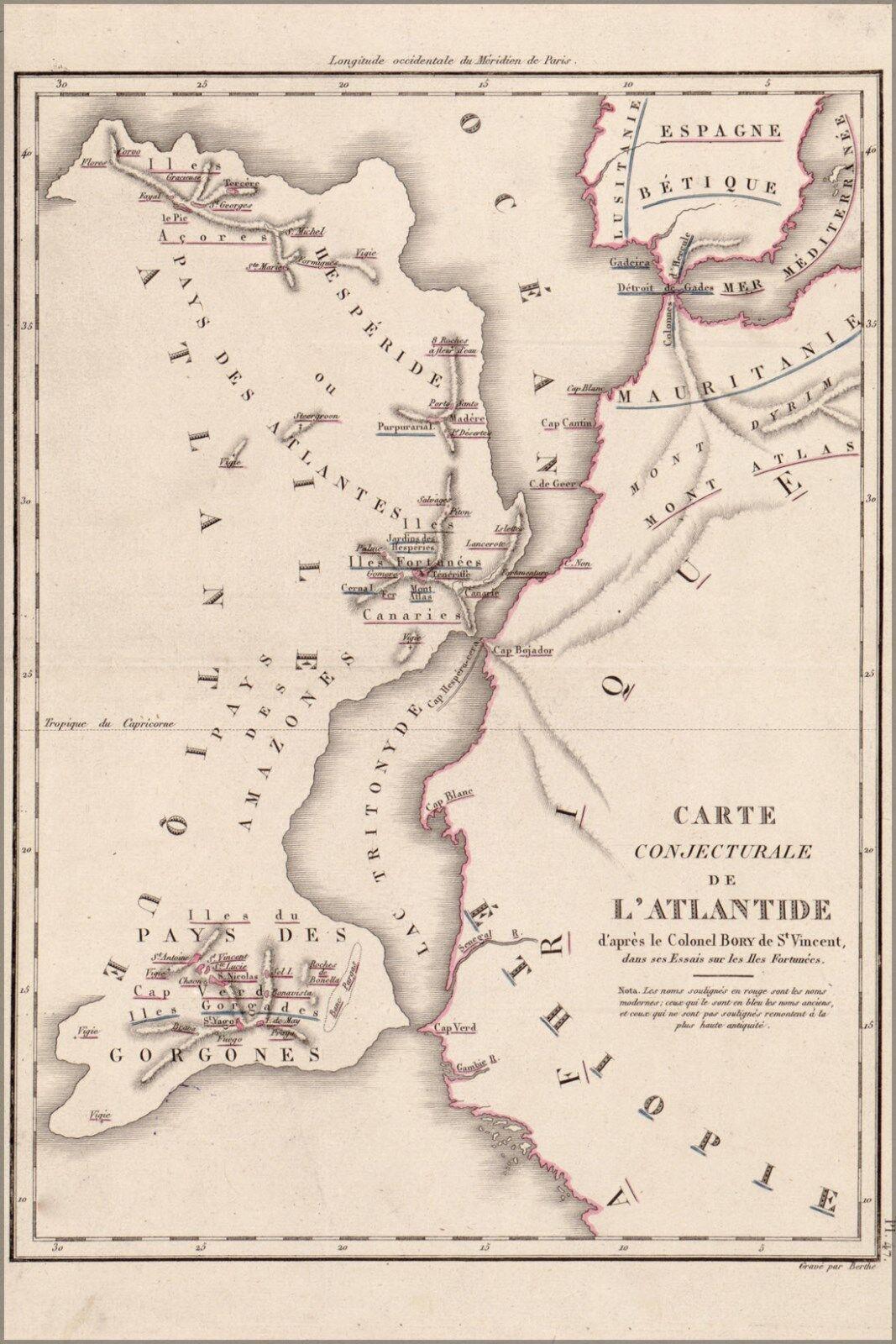 Poster, Molte Misure; Mappa Del Atlantis da -berthe