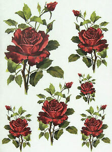 Details about Rice Paper for Decoupage, Scrapbooking Sheet Red Roses