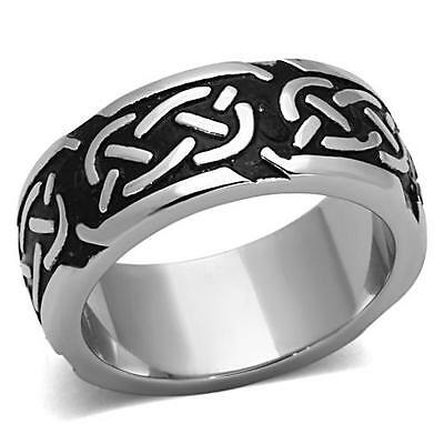 Celtic Rope Ring Black 316L Stainless Steel 9mm Eternity Band
