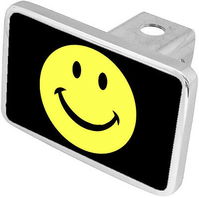 Yellow Smiley Face Hitch Cover Plug Funny Novelty