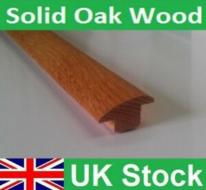 Image is loading Solid-Oak-Wood-Tiles-to-Carpet-Reducer-Threshold- & Solid Oak Wood/Tiles to Carpet Reducer Threshold Door Bar 1 metre ...