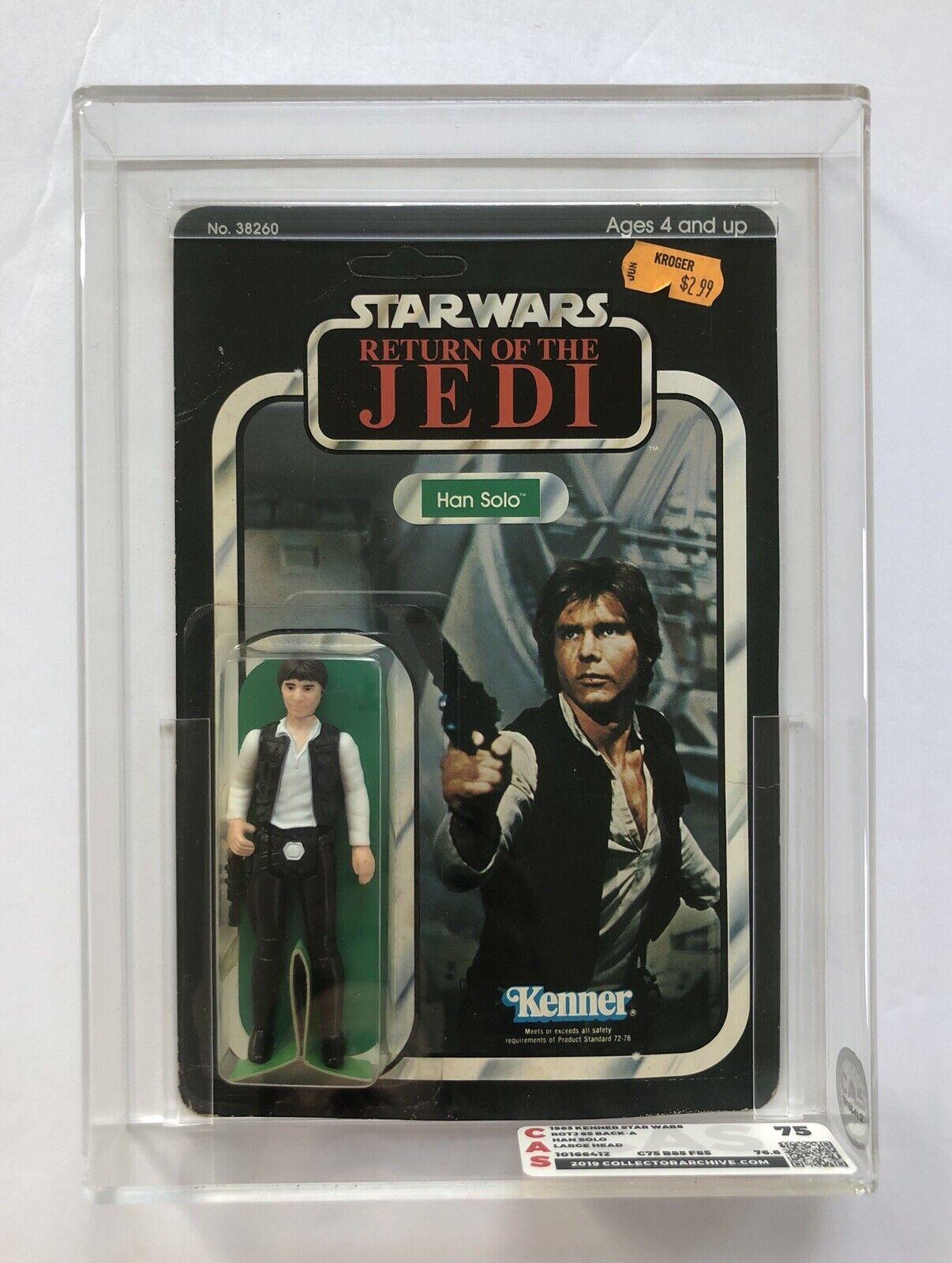 Retorno de las Jedi De Estrella Wars Han Solo 65 Back-un Vintage menta en tarjeta ENLOMADOR CAS 75 85 Figura de Acción autoridad clara burbuja