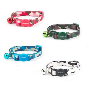 Ancol-Camouflage-Cat-Collar-with-Bell-Safety-Buckle-in-Black-Pink-Blue-Green