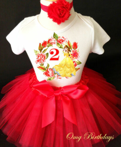 2nd Birthday Girl Tutu Shirt Outfit Set Princess Belle Beauty and the Beast Red