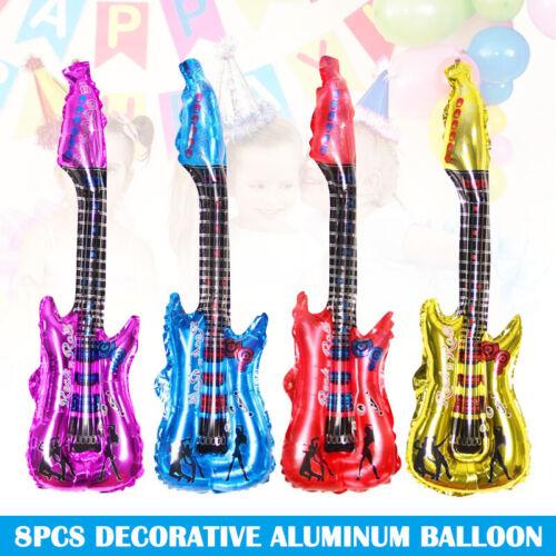 8pcs Foil Balloon Set Guitare Forme Réutilisable Fête Ballons pour Fête Décor
