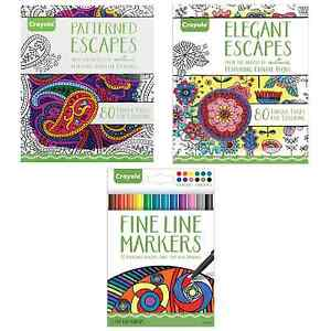 Crayola adult coloring books fine tip pens patterns pages Colouring books for adults ebay