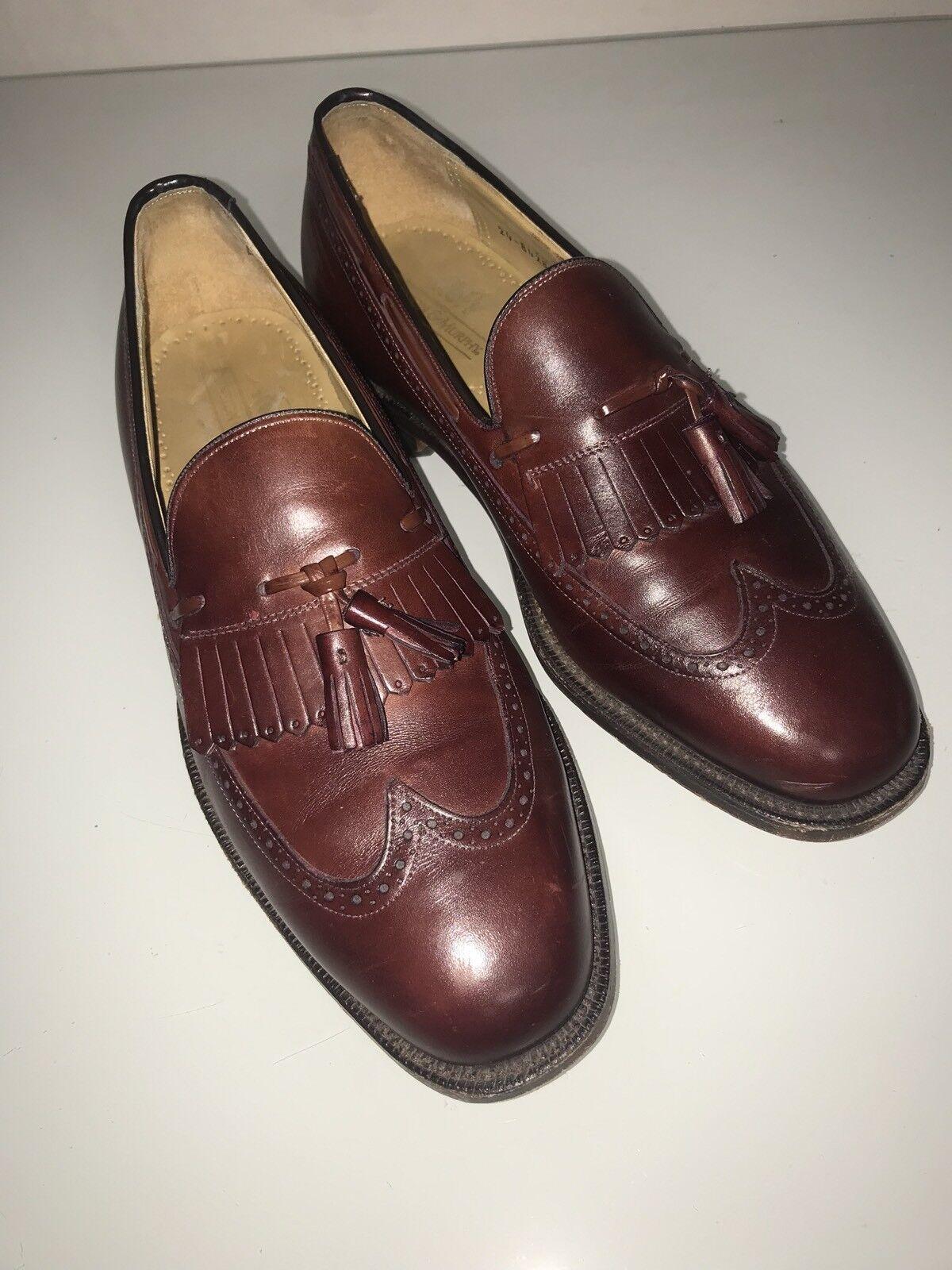 Johnston Murphy Aristocraft Burgundy Pelle Kilt Tassel Loafers Shoe 9.5 D/B