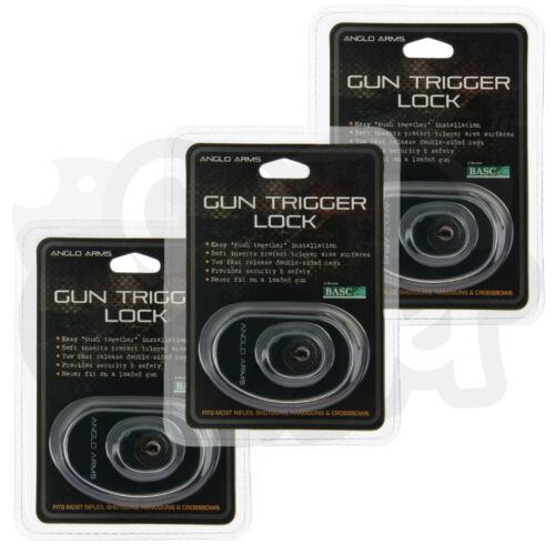3x Anglo Arms Universel Pistolet Fusil et Crossbow Sécurité Trigger Serrure Clé
