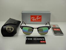 63b5ea5c5a Ray-Ban Clubmaster Mineral Men s Mirrored Sunglasses with Violet Frame and  Green Rainbow Flash Lens