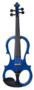 NEW-MADERA-BLUE-4-4-ELECTRIC-VIOLIN-PACKAGE-WITH-CASE-BOW-ROSIN-V2000CEQ