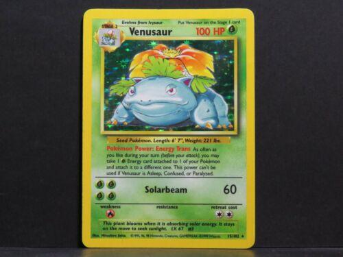 Holo Base Set Pokemon Card Venusaur 15//102 Near Mint