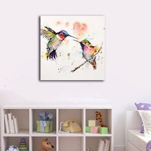Watercolor-Colorful-Birds-Stretched-Framed-Canvas-Prints-Wall-Art-Home-Decor