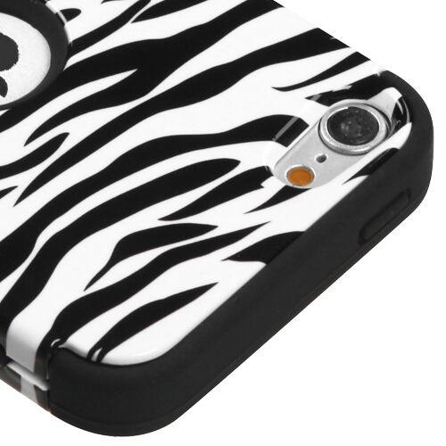 iPod Touch 5th Black White Zebra Stripes Hard/&Soft Rubber Hybrid Case 6th Gen