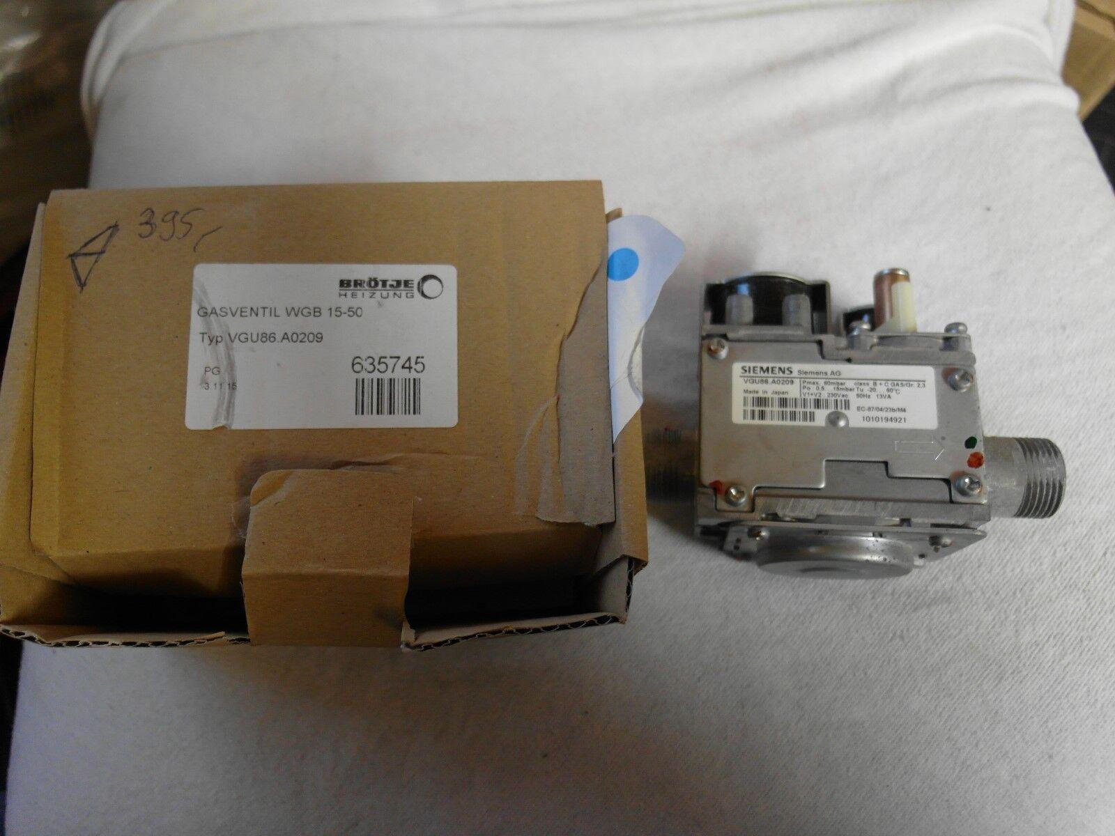 Brötje Heizung Gasventil WGB15-50 TYP VGU86.A0209 ( Siemens VGU86.A0209 )