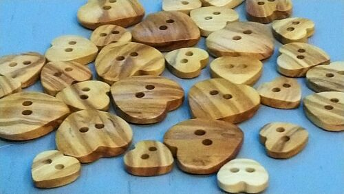 12mm Choice of Pack Sizes Heart Shaped Olive Wood Buttons 15mm 19mm
