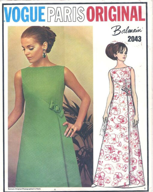 1968 Vintage VOGUE Sewing Pattern B34 EVENING DRESS (1634) By PIERRE BALMAIN