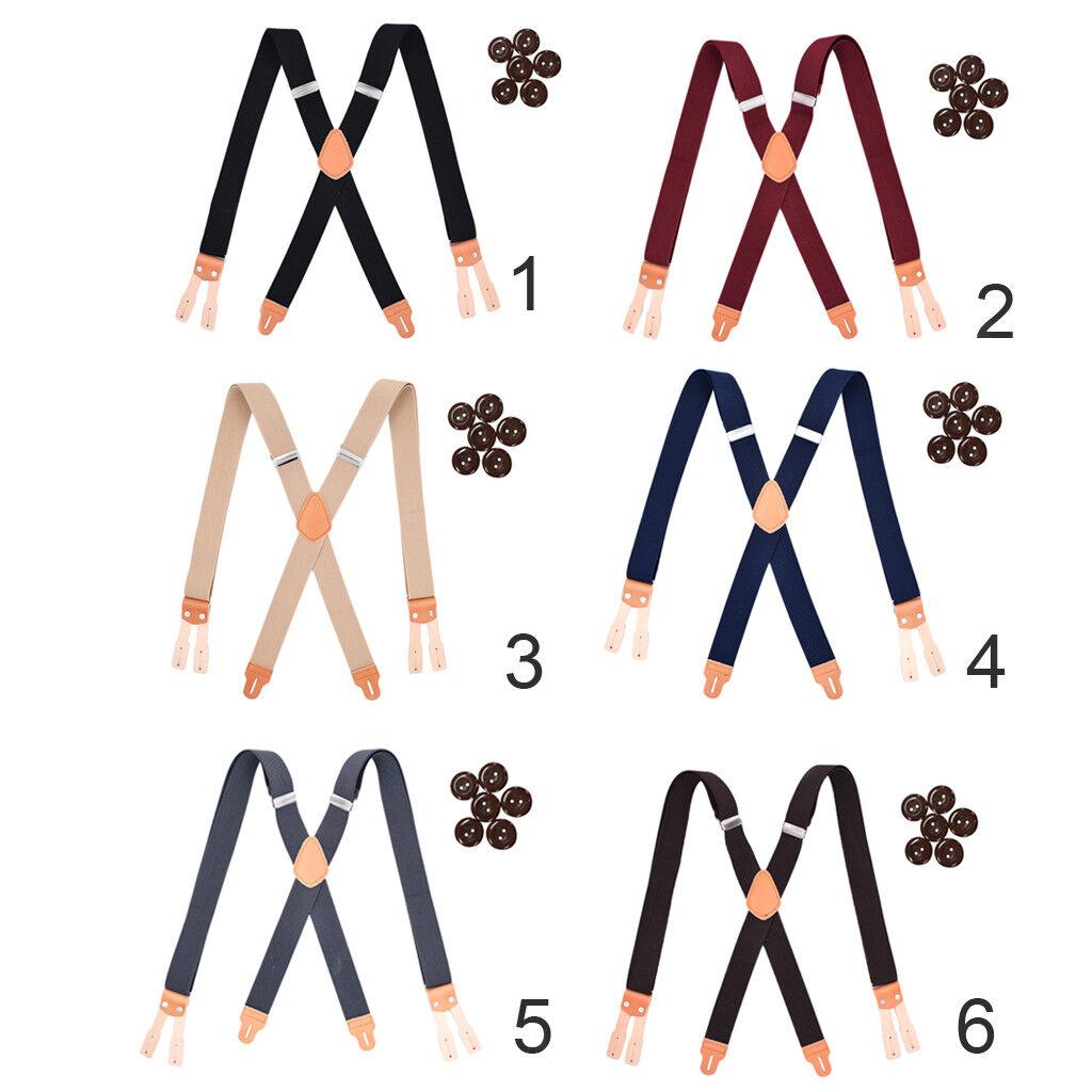 Prettyia Men's Solid Y Back Button Suspenders Heavy Duty Adjustable Elastic