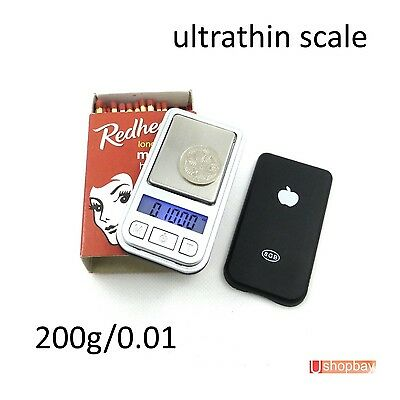 Mini Digital Black Pocket Scale Ultrathin Light weight 200g/0.01