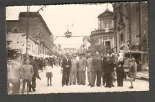 Italy TENSI RPPC post card people posed in middle of city street/sunglasses
