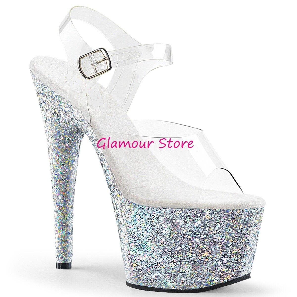 Sexy SANDALI GLITTER plata TRASPARENTE tacco 18 18 18 originali USA zapatos CLUB  tienda de descuento