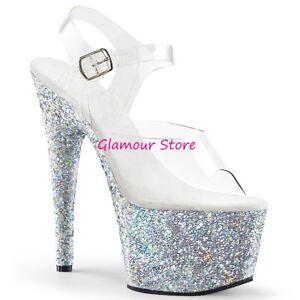 chaussures pour 18 argentées scintillantes talon femmes club Sandales clair originales nXC8qxw7