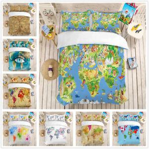 Details about 3D World Map Colorful Print Bedding Set Duvet Cover Comforter  Cover Pillow Case