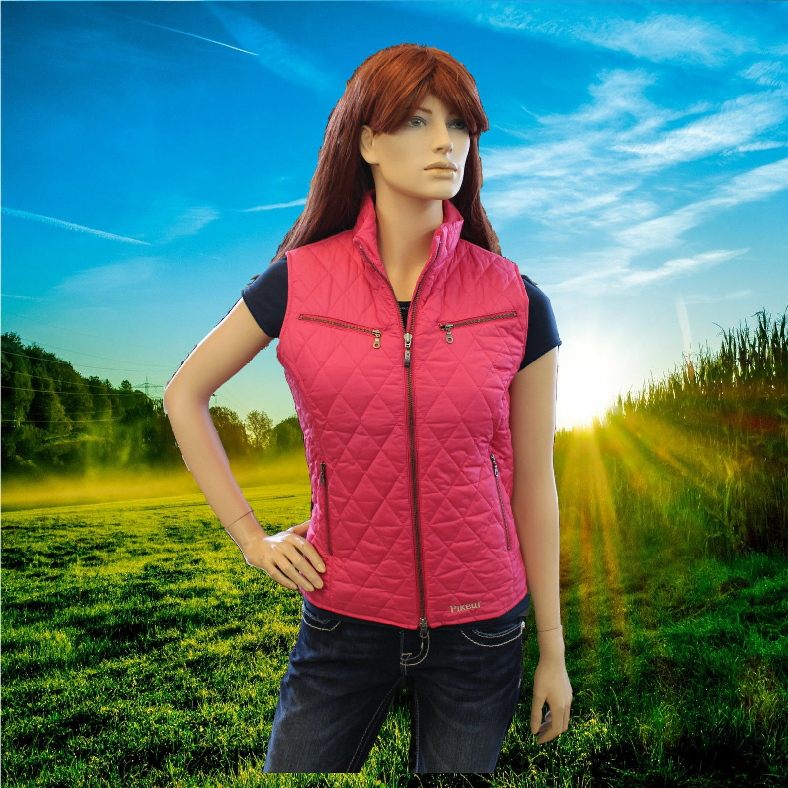 SALE Pikeur Colina Ladies Quilted Waistcoat - Raspberry - Size 14 Long