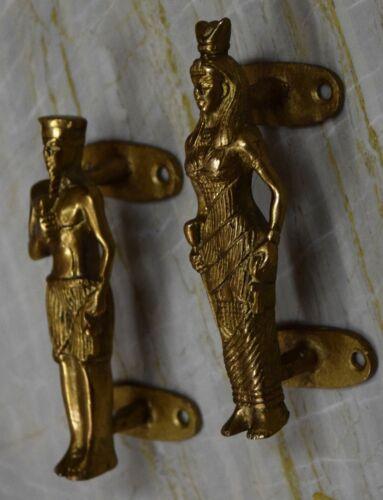 King Queen Figure Door Handle Brass Golden For Chess Lover Unique Design BM80