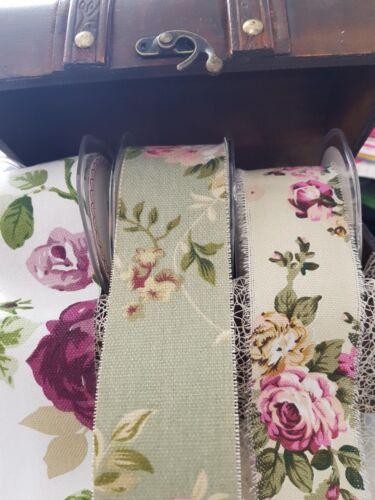 Bertie/'s Bows Vintage Florals-Lin Imprimé Effilochée Bord Ruban 50 mm 3 nuances