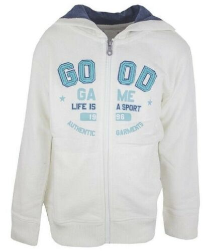 Boys Hoody White Sport Zip Up Hooded Cotton Jacket Hoodie Cardigan Sizes3-14yrs