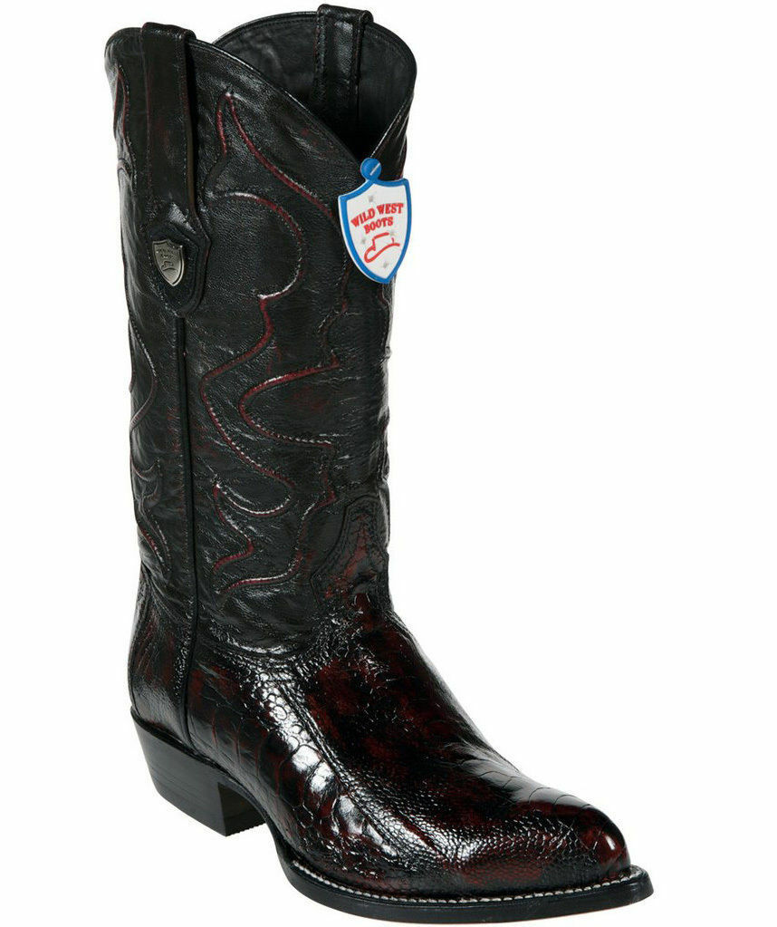 Wild West Genuine CHERRY CHERRY CHERRY Ostrich Leg Cowboy Western Stivali J Toe Handmade EE+ 9c0bb4
