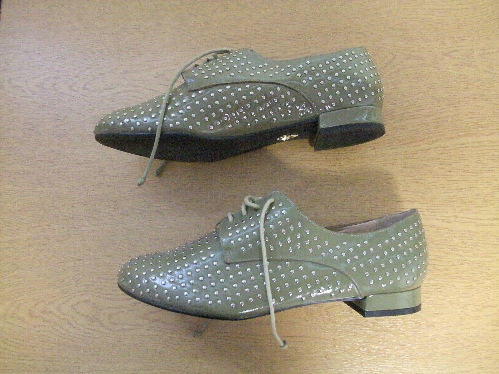 Ladies shoes Pour La La La Victorie UK 6 US 8.5 khaki lace patent leather studded 3034 3ddf26