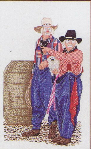 2 Designs Rodeo Clowns Cross Stitch Chart #21004 Color Charts
