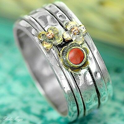 Coral Pearl Sterling Silver Spinning Ring Gemstone  Chic Retro Tribal Fl