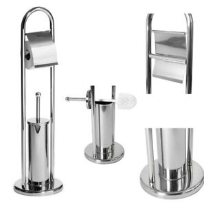 1a715e61b037 Image is loading CHROME-FREE-STANDING-STAINLESS-STEEL-TOILET-ROLL-HOLDER-