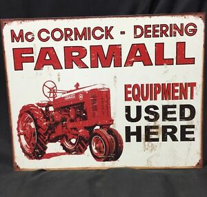 1944 INTERNATIONAL HARVESTER FARMALL McCORMICK DEERING FARM TRACTOR METAL SIGN
