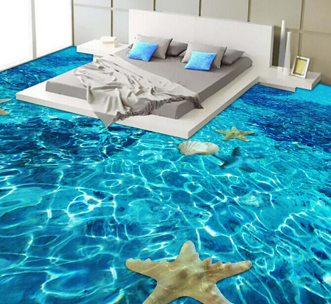 Cáscara del mar Estrella de Mar 3D 2 Papel Pintado Mural Parojo Calcomanía de impresión de piso 5D AJ Wallpaper