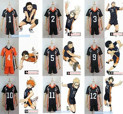 Haikyuu! Hot Karasuno High School Uniform Jersey Volleyball New Cosplay Costume
