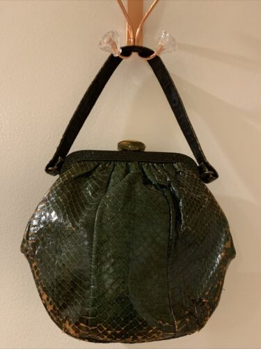 Vintage 1940's Green Distressed Snakeskin Purse