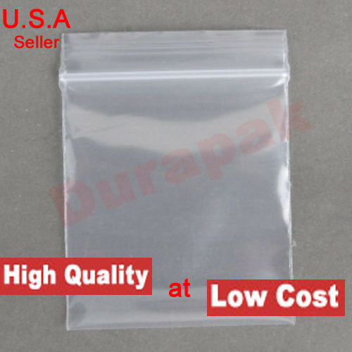 """300 Poly Clear Storage Reclosable Zipper Bags 2.4 Mil/_5.5/"""" x 7.9/""""/_140 x 200mm"""