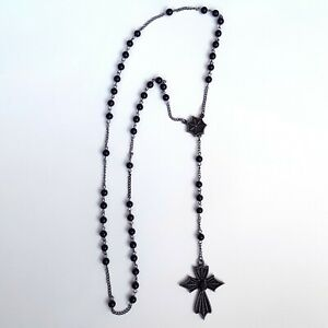 Gothic-Punk-80s-Goth-Metal-Vampire-Sabbath-Spider-Web-Rosary-Bead-Cross-Necklace