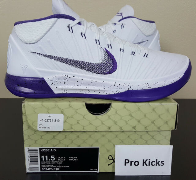 innovative design 9ce07 37f21 NIKE KOBE A.D. BASKETBALL SHOES WHITE PURPLE BLACK RARE 922482-100 (SIZE  11.5)