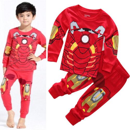 2PCS//SET Kids Boys Ironman Sleepwear Nightwear Pajamas Pj/'s Matching Sets 1-8Y