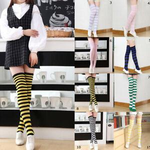 Women-039-s-Cotton-Sport-Socks-Thigh-High-Striped-Over-the-Knee-Slim-Leg-Stockings