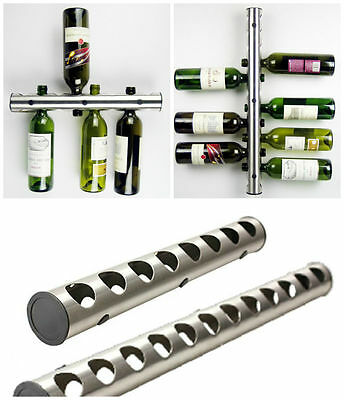 NEW STAINLESS STEEL 12 8 BOTTLE WINE RACK BAR KITCHEN WALL MOUNTED HOLDER SILVER