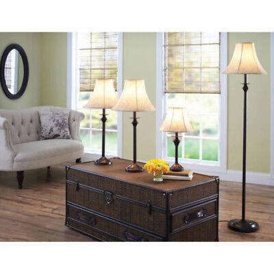 4 PIECE LAMP SET Living Room Floor Table Warm Light Decor Bedroom Accent Shade